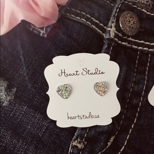 Jewelry - 3/$30 Sparkly heart earrings